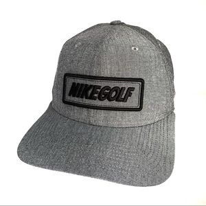 Nike Golf Mens Hat Leather Strapback Gray Black